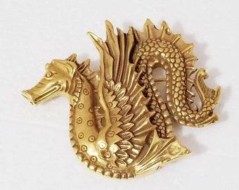 Abstract Gold Brass Dragon Brooch Signed Metropolitan Museum of Art
