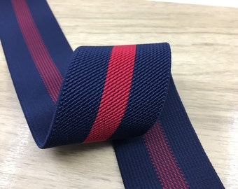 2 Inch 50mm Wide Navy and Red Striped Twill Colored Elastic, Waistband Elastic, Sewing Elastic 22020