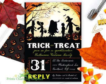Trick or Treat Halloween Party Invitation • Custom Printable •Print Yourself or Here