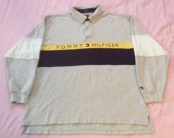Vintage Tommy Hilfiger Spellout Color Block Polo Shirt Blue Yellow Gray Long Sleeve 2XL