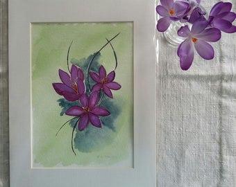 Purple crocus, spring crocus, flower painting, spring, home décor, gift
