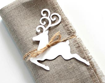 Christmas Napkin Tags, Napkin Rings, Holiday Table Decor, Reindeer Tags, Set of 8, Rustic Table Decor, Christmas Place Cards, Gift Tags