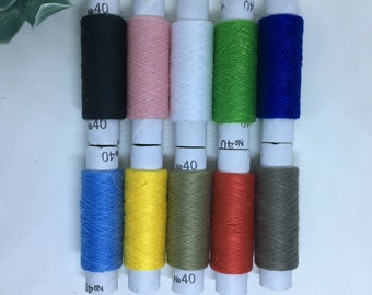 Different color set of 10 spools sewing thread