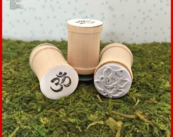 Om, Lotus, Ganesh set of 3 yoga stamps Y022