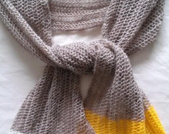 Color Dipped Mesh Scarf Toasted Oats Off White and Yellow