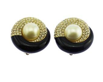 Ciner Black Enamel Earrings, Ciner Rhinestone Earrings, Ciner Pearl Earrings, Large Black Earrings