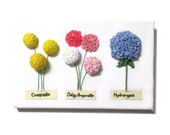 "Handmade 3 Flowers Stump work Embroidery Canvas Frame 9"" × 6"""