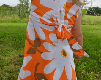 Baby or Toddler Girl's Handmade Organic Cotton Sleeveless Summer Dress - Big White Daisies on Orange - Daisy 3163