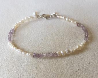 Freshwater Pearl Bracelet, Amethyst Pearl Bracelet, Bridesmaid Gift Bracelet, Pearl Bracelet, Minimalist Bracelet, Tiny Bracelet, Jewelry