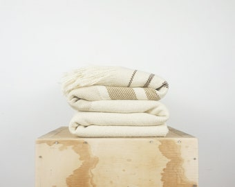 Off White throw bedspread Scandinavian style bedding, 100% wool blanket earth shades
