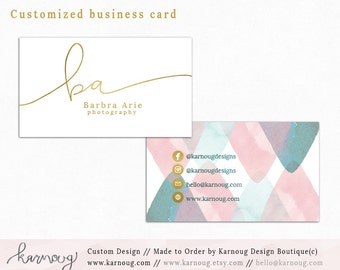 Business Card Design Watercolor Business Cards Custom Business Cards Printable Business Cards Gold Printable Cards