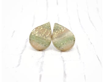 Blush and mint earrings nickel free earrings lightweight earrings teardrop earrings polymer clay jewelry stud earrings teardrop EARRINGS