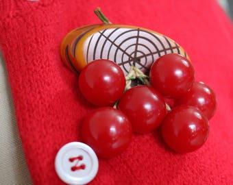 Vintage 40s Bakelite Cherry Cherries on a Log Brooch Jewelry