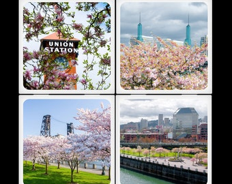 Springtime in Portland - Ceramic Coaster Set