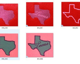 Texas Applique, filled and outline Set of 5 TX  Digitized Machine Embroidery Design