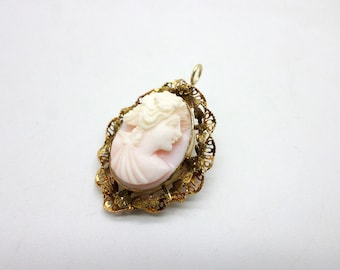 So Sweet Vintage 10K Blush of Pink Cameo Brooch Pin Pendant
