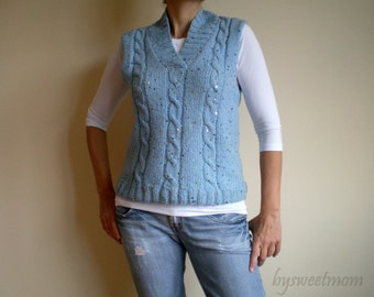 Blue Wool Sweater, Hand Knit Multicolor Sequined Vest, Back to School