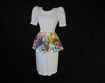 1980s floral peplum dress vintage polka dot and flower print ruffle hip country club dress small