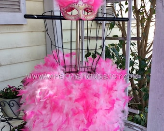 Feather tutu, flamingo tutu, feather dress, costume, dress up, feathers, tutu, tulle tutu, flower girl, flower girl dress, wedding, baptism
