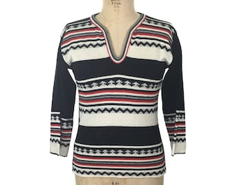 vintage 1970's striped sweater / black white red / acrylic / That 70's Show / 70's sweater / women's vintage sweater / size small