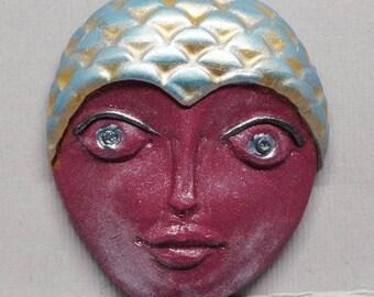 Large Burgundy and Blue Mermaid with Rhinestone Eyes Polymer Clay Art Doll Face Cabochon