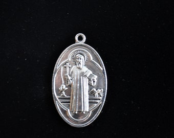 "Silver Religious Charm pendant, religious medal charm, supplies,  Nice Size jewelry, NEW 2"", #850"