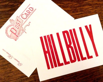 HILLBILLY cards, letterpress post cards, Southern cards, I Love Mountains, country music, classic country, rustic cards, handmade music card
