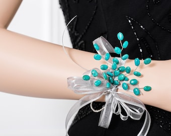 Limited Edition Genuine Turquoise Corsage - Blue Wrist Corsage