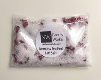 Lavender & Rose Petal Bath Salts Pouches | Contains 100% Pure Dead Sea Salt