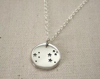 Constellation Necklace Silver Zodiac Jewelry - Aries Taurus Gemini Cancer Leo Virgo Libra Scorpio Sagittarius Capricorn Aquarius Pisces