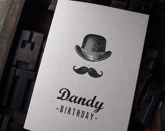 Dandy Birthday letterpress greetings card blank inside
