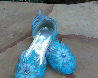Children's Elsa Heel Shoes Inspired from Disney Frozen Movie with Hand Decorated Snowflakes