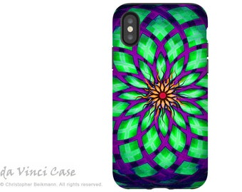 Geometric Lotus iPhone X Tough Case - Purple and Green Abstract Art - Dual Layer Protection for iPhone 10 - Kalotuscope by Da Vinci Case