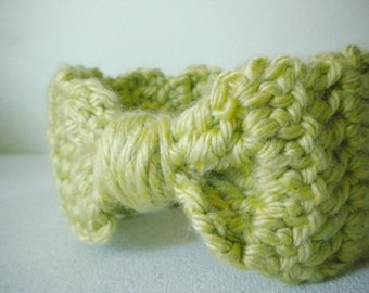 Crochet Headband Ear Warmer in Spring Green - crocheted headbands with bows - crochet baby earwarmer