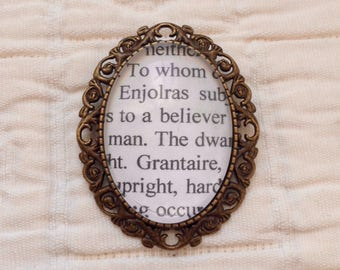 Customizable Les Miserables book page brooch