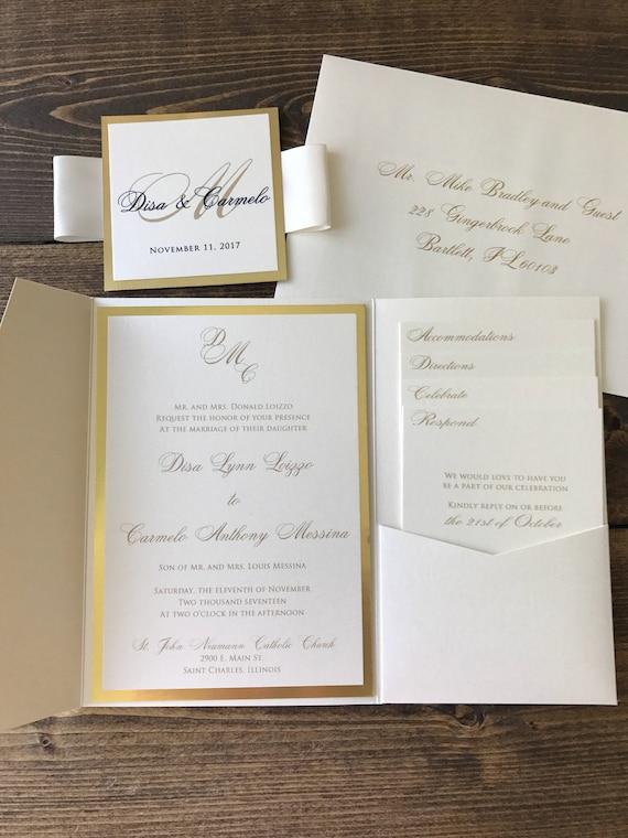 Gold Pocket Wedding Invitations Champagne wedding Wedding