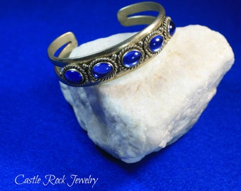 Sterling Silver and Sapphire Rhinestone Handmade Cuff Bracelet