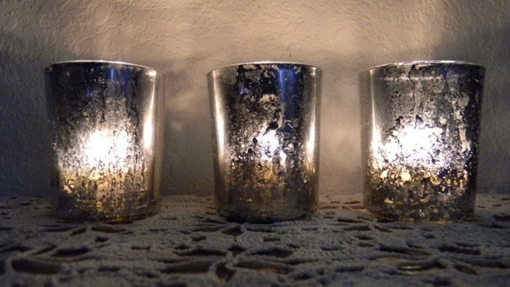 items similar to set of 3 votive mercury glass candle holder wedding on etsy. Black Bedroom Furniture Sets. Home Design Ideas