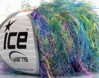 Techno Mermaid #55740 - Ice Green, Purple, Blue Eyelash Yarn - Super-Soft Long Eyelash Yarn 100% Polyamide (Nylon) 50 Gram 164 Yards