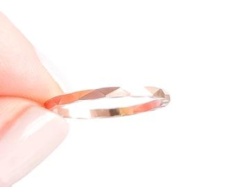 Rose Gold Stacking Ring, Rose Gold Filled Ring, Stack Ring, Hammered Gold Ring, Rose Gold Band