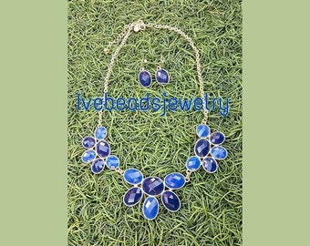 Blue Statement set necklace