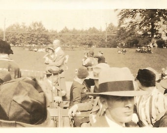"Vintage Snapshot ""Celebrity Sighting"" Crowd Turns Around To Look At Man & Woman Having Their Picture Taken Found Vernacular Photograph"