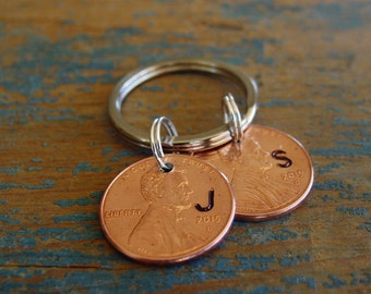 Dad Keychain, Mom Keychain, Penny Initial Keychain, Personalized Penny, Year of Choice, Penny Key Chain, Child Initials, Dad Gift, Mom Gift