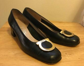 Black Salvatore Ferragamo heels