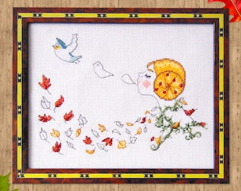 Autumn Cross Stitch Pattern- Vintage Cross Stitch- Instant Download- Retro Cross Stitch- Cute Cross Stitch