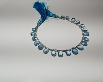 AAA Sky Blue Semi Precious Brazilian Aquamarine | Faceted 3D Pear Almond Briolettes 6.4x9.4-7.5x10.5 mm | 14 Inch Strand | 20 Briolettes  b8