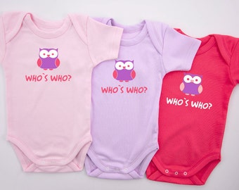 Triplet Girls Bodysuits, WHO IS WHO Funny Triplet Outfits, Set of 3 - Pink, Purple & Fuchsia Pink Baby Bodysuits, Triplet Baby Shower