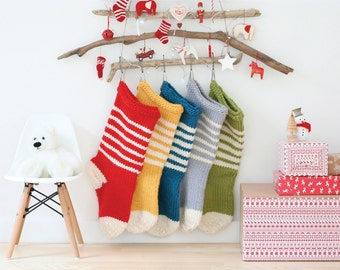SALE - Chunky knitted Christmas stocking - 100% wool