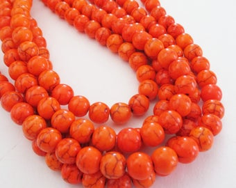 "Orange Round Beads - Howlite Round Ball Beads - Smooth Turquoise Drilled Gemstone - 8mm /16"" Strand - DIY Spring/Fall Jewelry - Bulk Price"