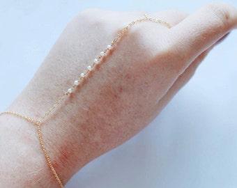 24k Vermeil Over Sterling Silver Freshwater Pearl Hand Chain Handchain Slave Bracelet Ring Bracelet Finger Chain Bridal Wedding Rosary